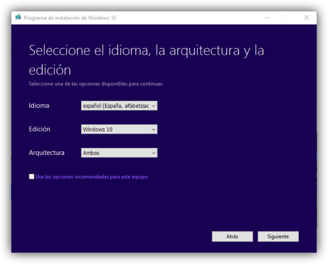 Media Creation Tool - Versión de Windows 10 Anniversary Update