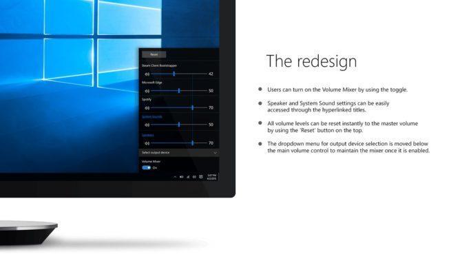 Nuevo concepto de control de volumen en Windows 10
