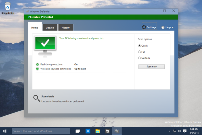 Windows Defender en Windows 10