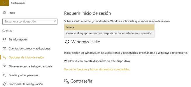 Configuración contraseña en Windows 10