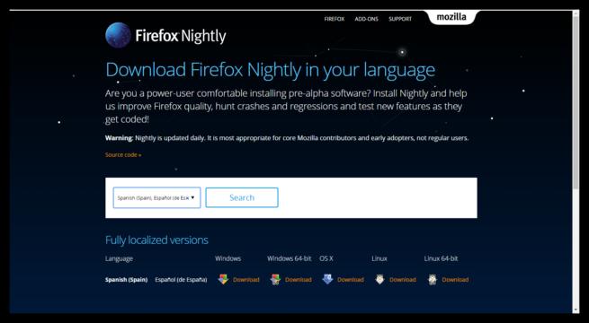 Mozilla Firefox Nightly en español