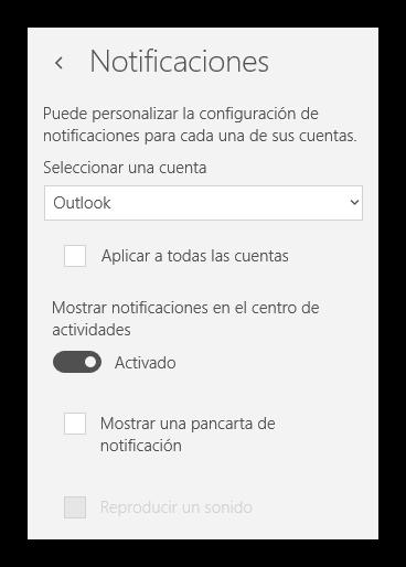 Notificaciones Correo Windows 10 activadas
