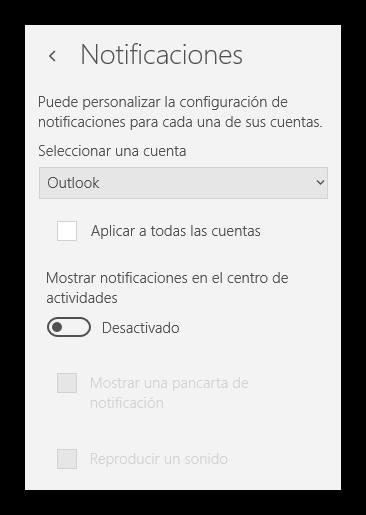 Notificaciones Correo Windows 10 desactivadas