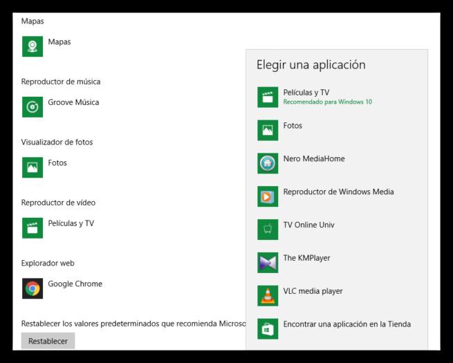 VLC reproductor de vídeo predeterminado Windows 10