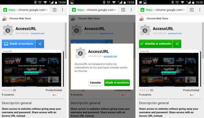 instalar extensiones de Chrome desde el móvil