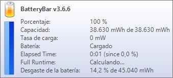 información porcentaje de batería