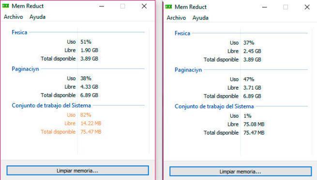 Mem Reduct Gestiona y optimiza el consumo de memoria RAM
