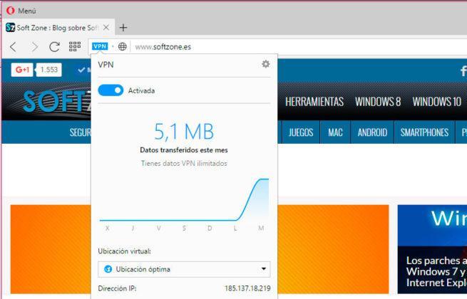 Opera con VPN