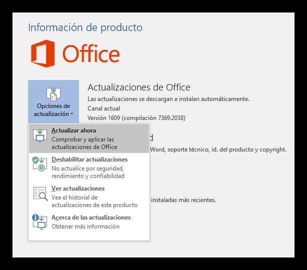 Actualizar Office 2016