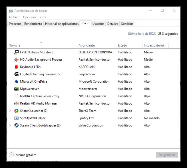 Aplicaciones cargadas al inicio al encender Windows 10