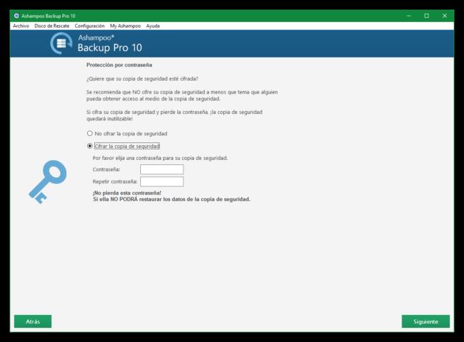 Ashampoo Backup Pro 10 - Cifrar copia de seguridad