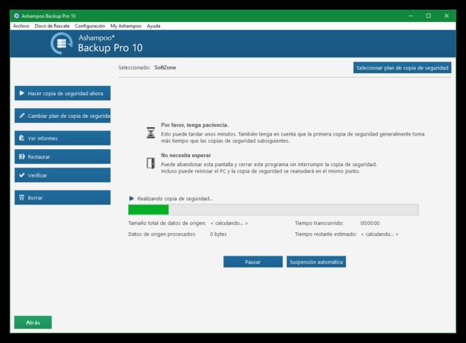 Ashampoo Backup Pro 10 - Creando copia de seguridad