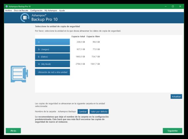 Ashampoo Backup Pro 10 - Elegir unidad guardar copia de seguridad