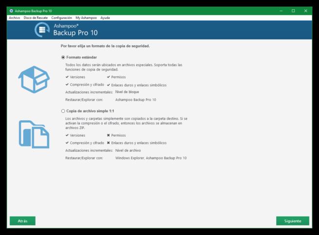 Ashampoo Backup Pro 10 - Formato de copia de seguridad