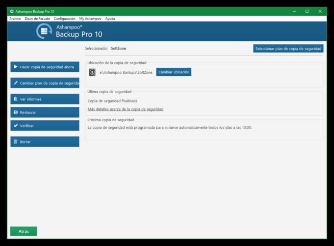 Ashampoo Backup Pro 10 - Resumen plan copia de seguridad