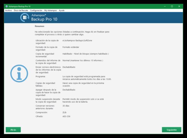 Ashampoo Backup Pro 10 - Resumen plan copia seguridad