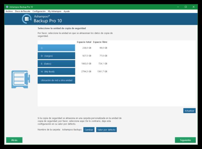 Ashampoo Backup Pro 10 - Unidad de origen de copia de seguridad