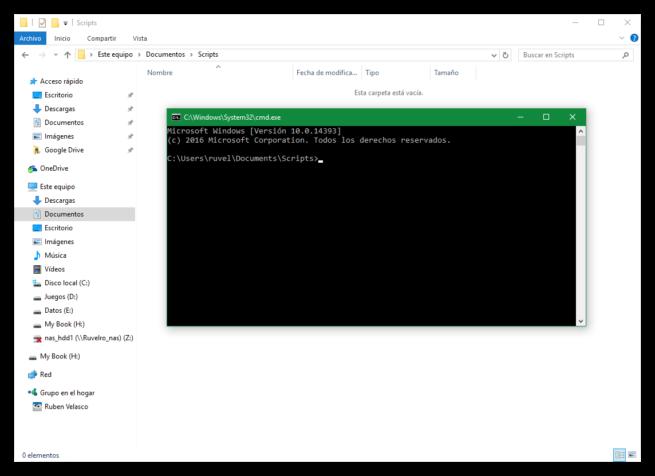 CMD por defecto en carpeta del explorador de Windows