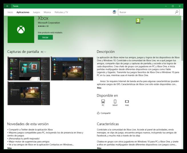 Cambios en app de la Windows Store