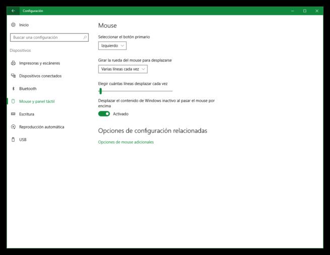 Configuración ratón Windows 10