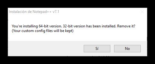 Desinstalar versión anterior Notepad++