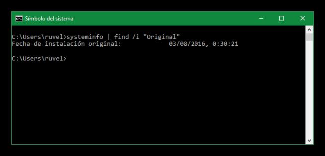 Fecha de instalación de Windows 10
