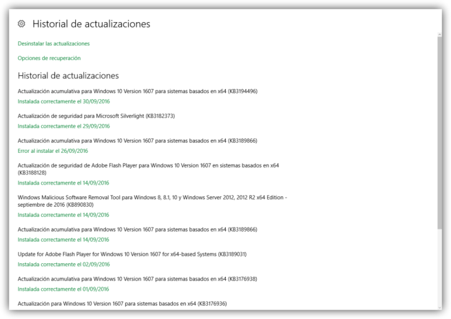 Historial actualizaciones y parches acumulativos Windows 10