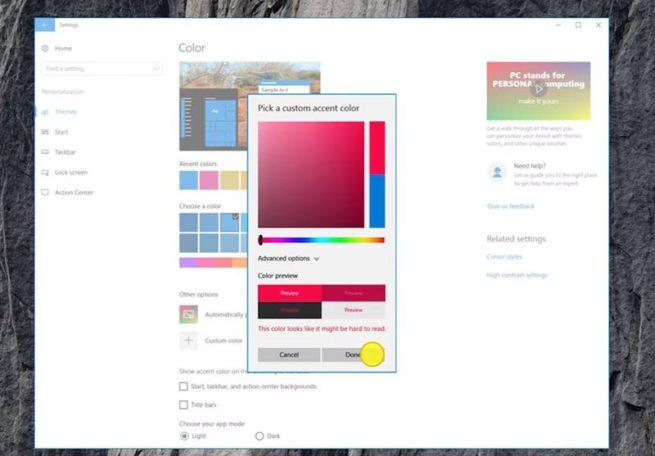 Personalizar color Windows 10 Creators Update