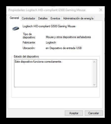 Propiedades avanzadas ratón Windows