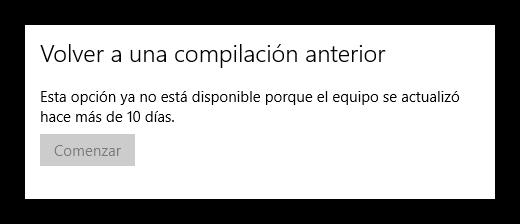 Volver a compilación anterior Windows 10