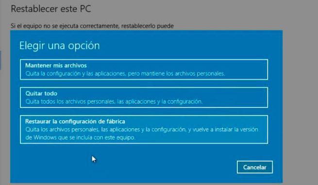 restablecer los ajustes de fábrica de Windows 10