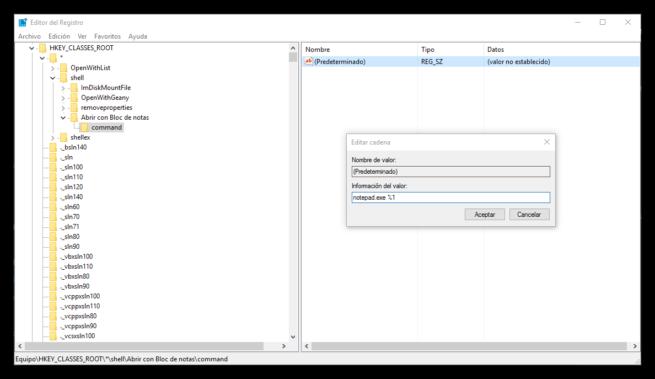 Abrir con bloc de notas desde el menú contextual en Windows