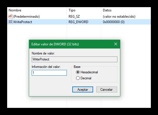Editor de registro - WriteProtect en Windows 10