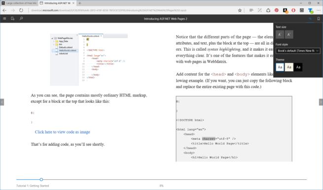 Microsoft Edge y libros EPUB