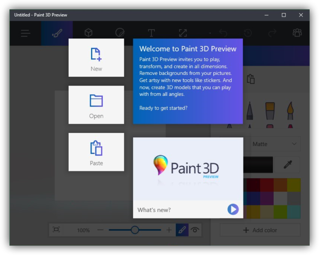 Paint 3D Preview en Windows 10 Anniversary Update