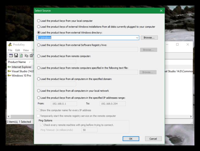 ProduKey - Recuperar clave de Windows desde fuente externa