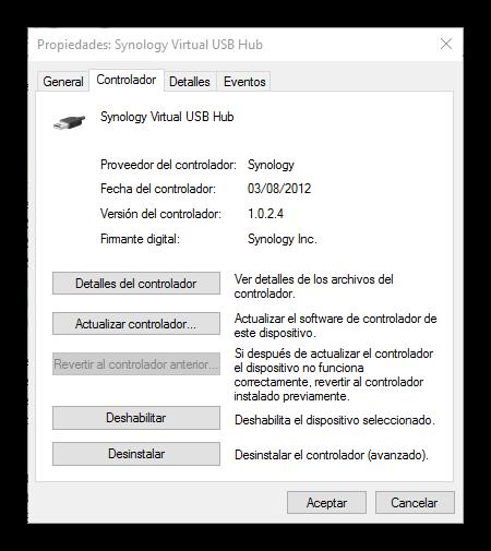 Propiedades controlador USB Windows