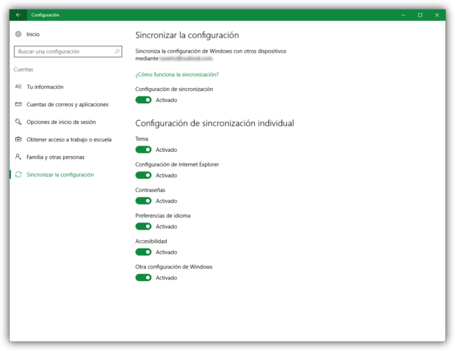 Sincronizar entre Windows 10 con cuenta Microsoft