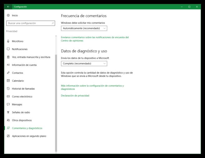 Telemetría de Windows 10