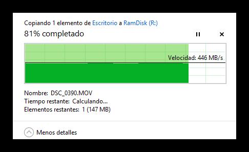 Velocidad de copia de datos a RamDisk