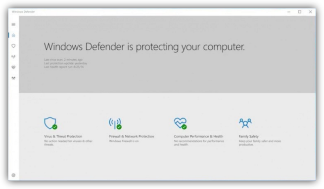 Windows Defender en Windows 10 Creators Update