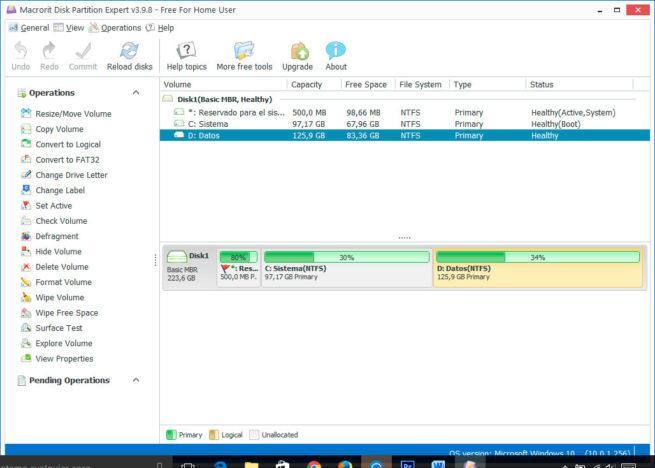 Mcrocrit Disk Partition Expert particiones de tu disco duro