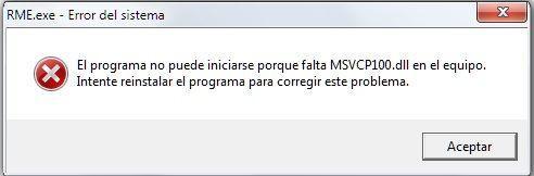 error falta MSVCP100