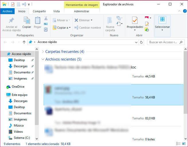 ocultar los archivos recientes en el explorador de Windows 10
