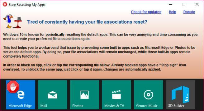 Windows 10 restablezca algunas aplicaciones como predeterminadas d
