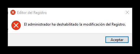 Acceso al registro de Windows bloqueado