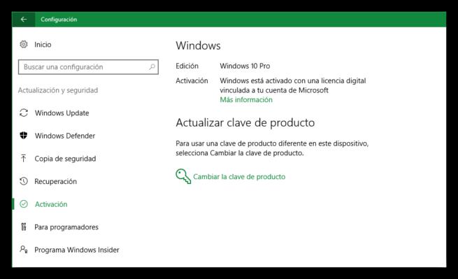 Actualizacion y seguridad - Activacion Windows 10