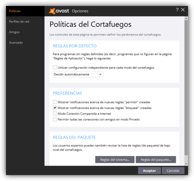 Avast Internet Security - Cortafuegos config 1