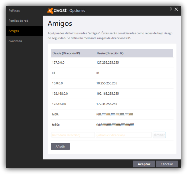 Avast Internet Security - Cortafuegos config 3
