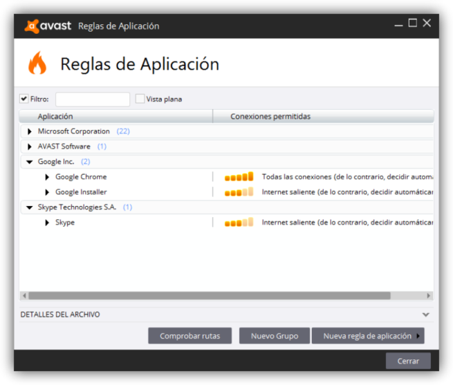 Avast Internet Security - Cortafuegos reglas 1